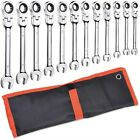 12pcs 8-19mm Metric Flexible Head Ratcheting Wrench 72 Teeth Spanner Tool W Bag