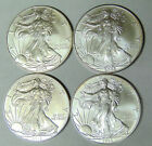 Set of 4 BU American Silver Eagles 2004 2005 2009 2013 Silver Dollars jl11