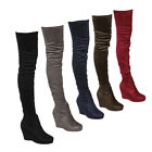 Beston EJ07 Womens Stretchy Snug Fit Thigh High Platform Wedge Heel Boots