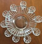 VINTAGE ETCHED GLASS 11 X  6  SALAD/PUNCHBOWL 10 MATCHING CUPS STRIPED PATTERN