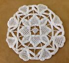 Vintage Hand Crocheted Round Doily Cotton Small Heart Design Ivory