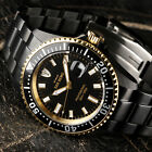 DETOMASO San Remo Mens Diving Watch Black Gold Plated Automatic 990 FT New
