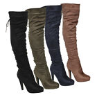 Beston FM35 Womens Side Zip Stiletto Heel Over The Knee Boots Half Size Small