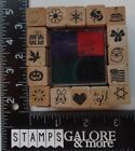 ALL NIGHT MEDIA USED RUBBER STAMPS SQUARES BOX SET 16 2901Q CELEBRATION INK PAD
