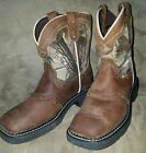 JUSTIN 4619JR Cowboy Square Toe Work Boots Camo sz 1 Child Youth Leather Upper