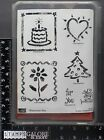 STAMPIN UP NEW RUBBER STAMP SET 2002 WATERCOLOR FUN CAKE HEART XMAS TREE THANKS