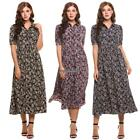 Womens Vintage Style Peter Pan Collar Short Sleeve Floral Print Long EH7E