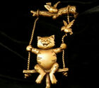JJ Signed Happy Cat on a Swing with Birds Vintage 80's Gold Tone Brooch 306s7