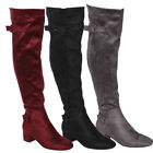 Beston EJ47 Womens Side Zipper Buckle Strap Block Heel Over The Knee High Boots