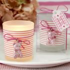 50 Adorable Pink Teddy Bear Themed Frosted Glass Votive Baby Shower Favors