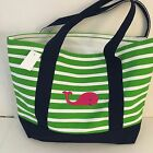 PINK WHALE CANVAS green STRIPED beach cotton natural tote bag EMBROIDERED NEW