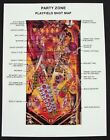 Party Zone Pinball Promo Rule Sheet and Shot Map Mint