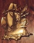 Vintage HOMCO Pirate Sailing Ship  Gold Plaque 1958  #3663   USA  29