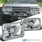 4 X 6 Square Cut Sealed Beam Headlights Lamp Chrome Housing Clear Lens Pair
