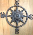 Rustic Cast Iron Rose Compass Nautical Beach House Wall Art/Outdoor Garden Decor