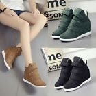 Hot Womens Boots Buckle Hidden Wedge Heels High Top Ankle Sneakers Casual Shoes