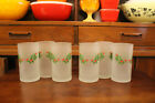 Vintage Mid Century Italy 6 Christmas Holly Frosted High Ball Glasses By Cerve~