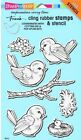 Cling Spring Tweets Birds Rubber Stamp  Stencil by Stampendous CRS5095 NEW