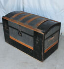Antique Victorian Steamer hump back Trunk Chest
