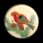 Button Modern Japanese Satsuma Pottery Scarlet Tanager Bird in Conifer
