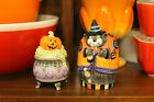 Fitz and Floyd Kitty Witches Witch Cat and Cauldron Salt and Pepper Shaker Set