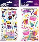 U CHOOSE Sticko Stickers BIRTHDAY FUN BIRTHDAY PARTY Cake Presents Balloons