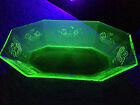 Vintage GREEN VASELINE URANIUM GLASS Large Oval Octagon Shaped Bowl 135 X 75