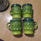 4 Vtg Anchor Hocking Fire King Kimberly Diamond Pattern Green Yellow Mug Cup LOT