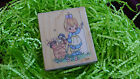 Precious Moments Rubber Stamp 1995 Cheerful Giver Puppies Wagon Girl Cart