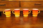 Fire King Set of 4 Kimberly Mugs Red and Orange Anchor Hocking Coffee Cup Mugs