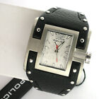 Police 13401JS Silver Tone Mens Black Leather Watch Stainless Steeel Quartz