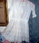 Antique Victorian Edwardian Cotton Lace&Embroidery Childs Large Doll Dress..TLC