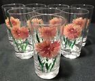 Handpaint Glass Tumbler Cup set 8 Vintage
