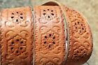 WIDE EMBOSSED TOOLED LEATHER HIPPIE STYLE BELT 36