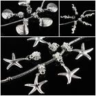 20Pcs Silver Hippocampus Starfish Seashell Spacer Charm Pendant Beads