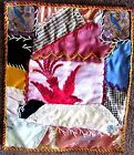 FOLK ART Small Child Or Doll Antique Orange Red Blue Calico.. BIRD QUILT Textile