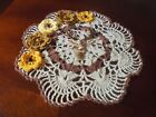 NEW Hand Crochet Novelty Doily Table Centerpiece Ecru Brown ELK Flowers