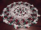 New Hand Crochet Doily CHRISTMAS White with Variegated Christmas Colors