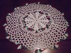 New Hand Crochet Doily White with Christmas Variegated Colors