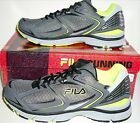 FILA Mens TURBO Running Shoes SneakerPewter Black Neon GreenSize 12 New Boxed