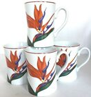Vintage Fitz and Floyd Bird of Paradise Mugs Set of 4 Coffee Cups