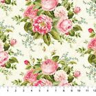 BY 1 2 YD Hopelessly Romantic NORTHCOTT FABRIC pink roses flowers on white 21811