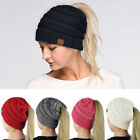 Women Girls Stretch Knit Hat Messy Bun Ponytail Beanie Holey Warm Winter Cap US