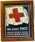 Vtg WWII Red Cross War Fund 100 Goal 7x9 inch Window Sign c1940s