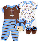 Baby Boy Buster Brown Football  Monkey 5pc Set Size 6 9 Months NWT