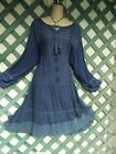 A  A BLUE ACID WASHED EMBROIDER CROCHETED DRESS 2 3X NEW CHURCH WEDDING PARTY