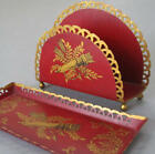 2 Pcs Vintage Toleware HP Pen Tray Letter Holder FRENCH Motif * Made in FRANCE