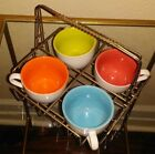 RARE! Antique French Basket Caddy Carrier with 4 Small Coffee Cups Coil Handle