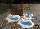 Set of Four Indiana Glass Colony Harvest Milk Glass Snack Sets in Original Box