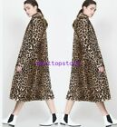 Womens leopard print Long Winter Plus Size Overcoat Fashion Jacekt Coat